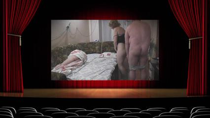 Полноватый сожитель отымел  сисястую бабенку рачком пока ее муж спал